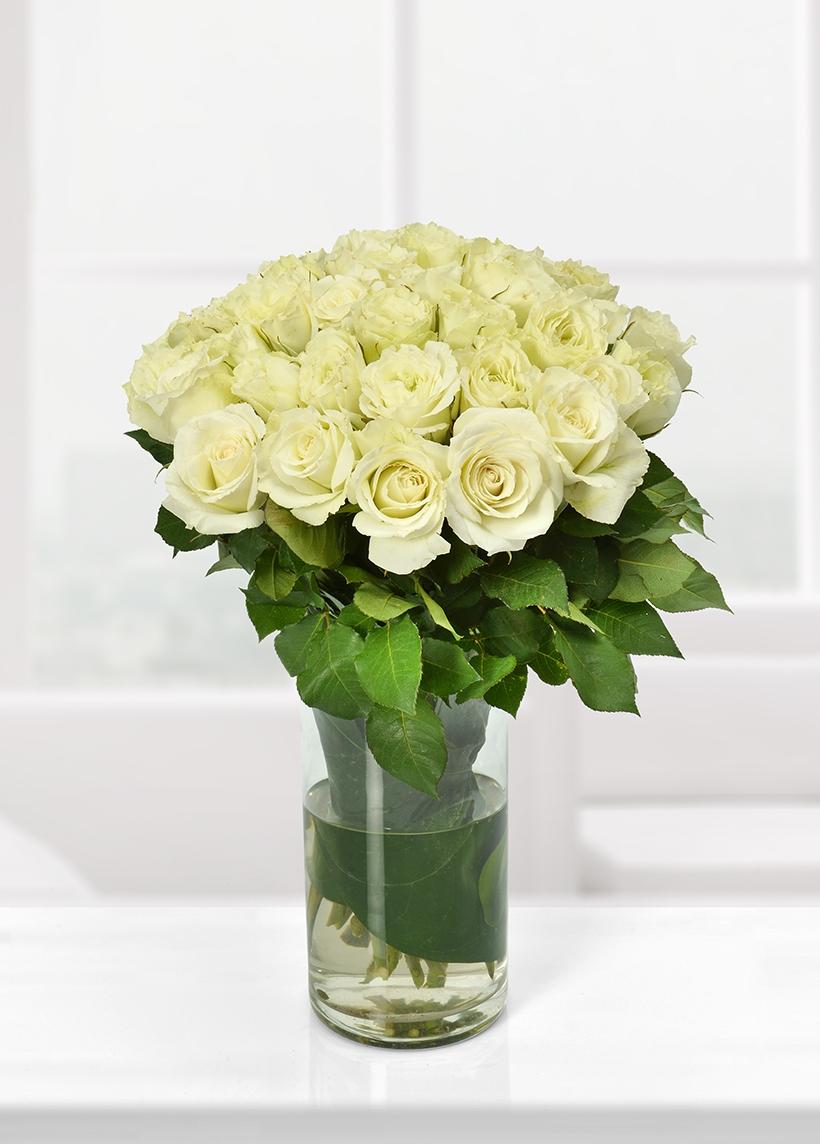 Cam vazoda 41 yerli beyaz güller