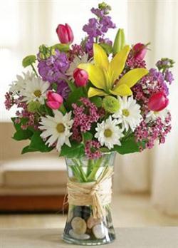 Renkli mevsim çiçek arajmanı