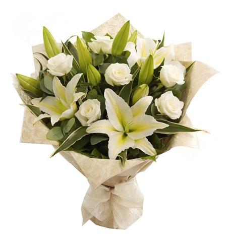 Beyaz Gül Beyaz Lilyum Buket